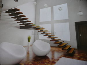 Steel cut plates with I beams staircase