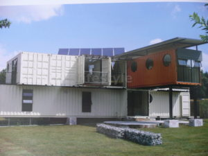 Container house with solar panels