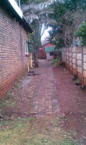 Old yard, passage, precast wall